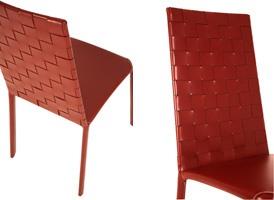 Jenia high woven, Chaise en cuir, en acier et de caoutchouc, pour le salon