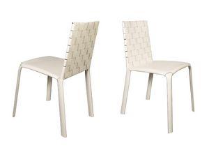 Jenia low woven, Chaise de salle à manger moderne, en cuir, pour le petit déjeuner chambre