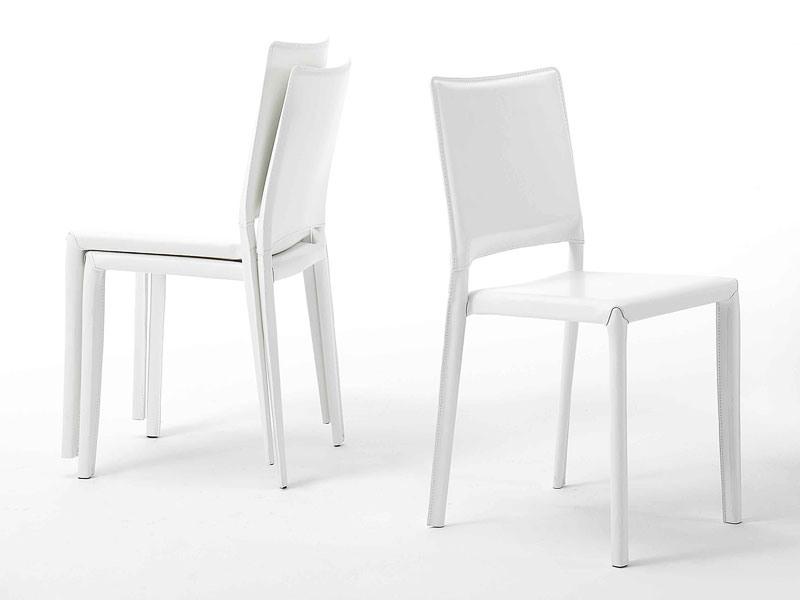 Jerry, Métal et salle à manger en cuir chaises, empilable, ignifuge