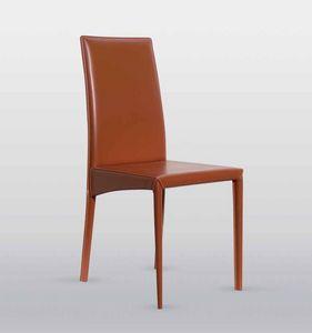 Jessica, Chaise en cuir, avec châssis en acier, disponible en différentes finitions