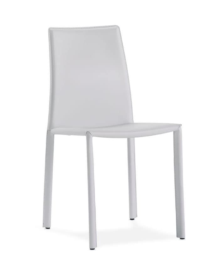Jo, Chaise en métal recouvert de cuir pour les environnements de contrat