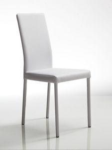 Juno, Chaise en cuir blanc, cadre en acier, pour le restaurant et usage résidentiel