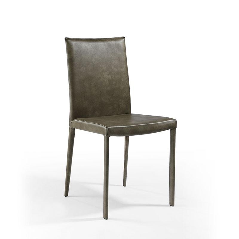 Jury low, Chaise digning, matelassé en cuir, pour le restaurant