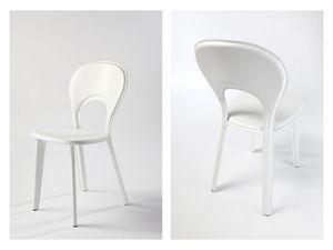 Lancio, Salle à manger chaise rembourrée, en cuir, pour le mobilier naval