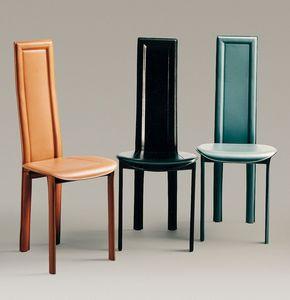 Linda, Chaise en cuir avec siège rond, disponible en différentes couleurs