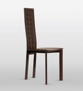 Lola, Chaise en cuir, le dossier a coutures à damier, pour salle à manger
