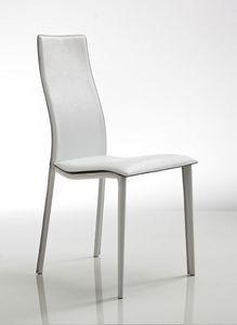 Lulu, Chaise élégante, rembourrés en cuir blanc, avec le siège ondulés
