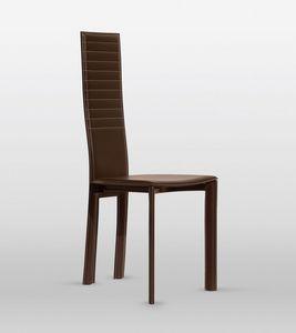 Magda, Chaise en cuir, dossier avec coutures horizontales, pour salle à manger