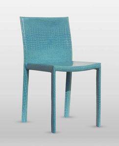 Malindi, Chaise rembourrée en cuir épais, avec châssis en acier, disponible en différentes couleurs