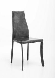 Margot, Chaise en acier entièrement recouverte de cuir