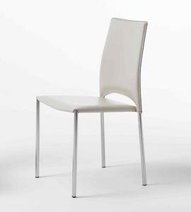 Mery, Chaise avec pieds en métal chromé, coque en cuir