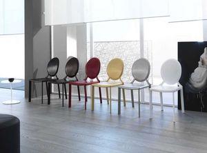 Miss, Chaise en cuir, avec dossier rond, adapté aux environnements modernes et classiques