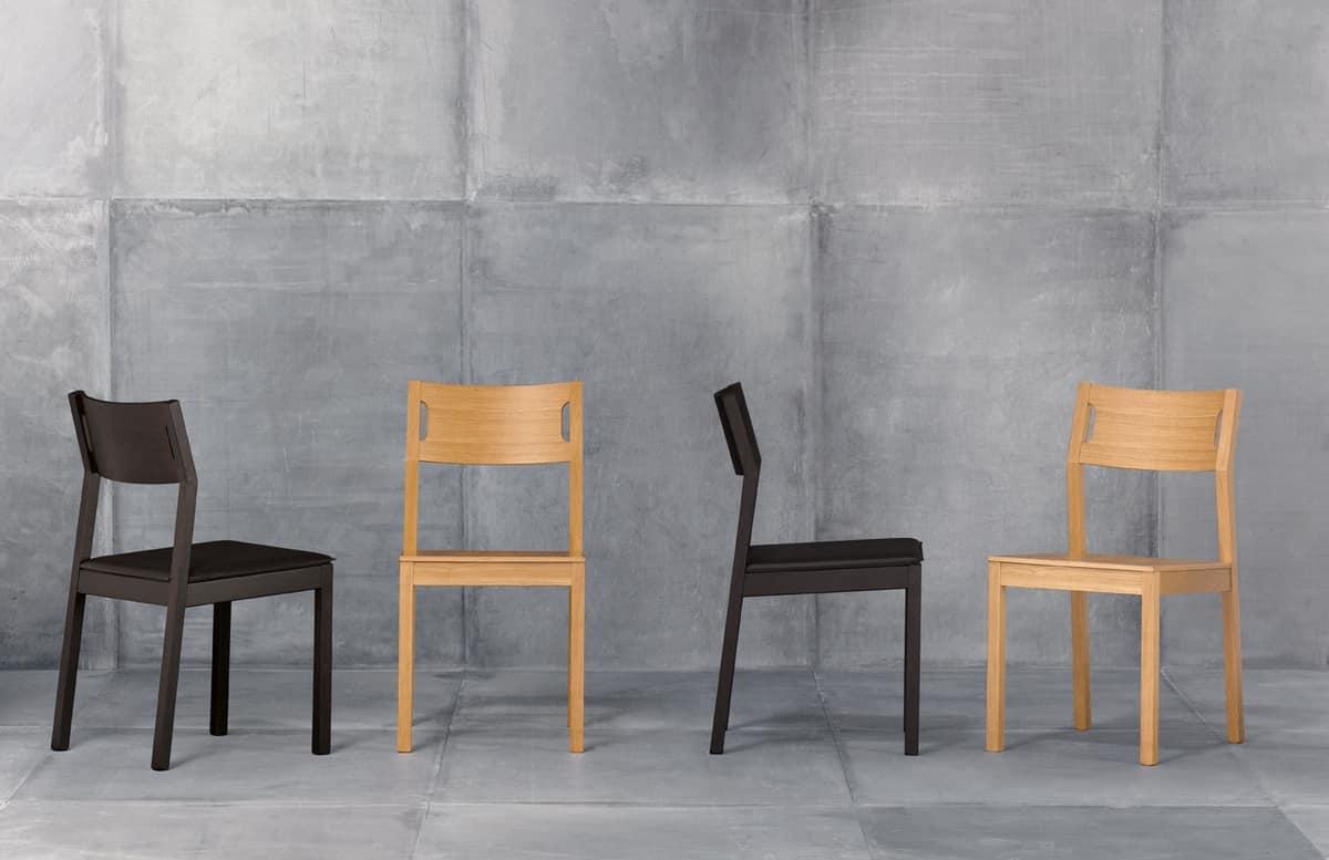 Moijto, Chaise en bois sans accoudoirs, siège en cuir