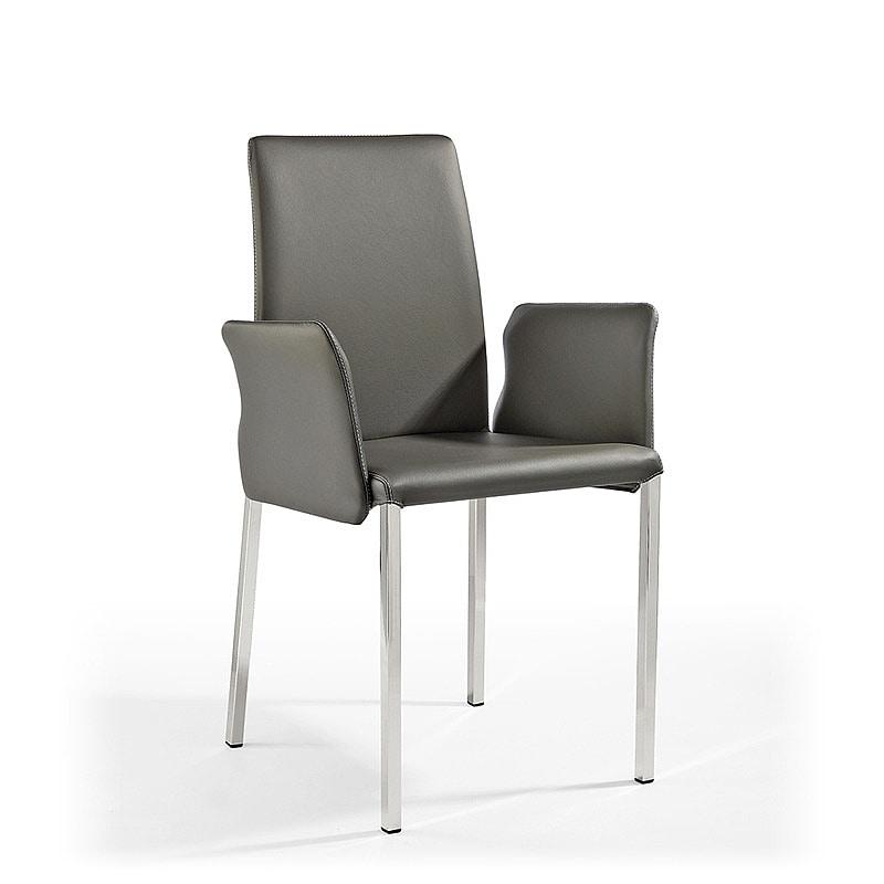 Ninfea Q BR, Chaise moderne en cuir et caoutchouc, pour le mobilier naval