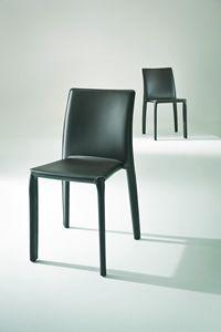 Parma, Chaise recouverte de cuir pour restaurants et cantines