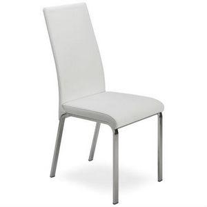 Regina, Chaise en métal, recouvert de cuir, dossier haut