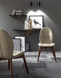 SORRENTO, Chaise avec ou sans accoudoirs, recouvert de cuir