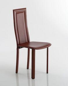 Tess, Chaise rembourrée en cuir ou cuir régénéré, structure métallique