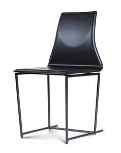 Tessa, Chaise en métal, rembourrée en cuir