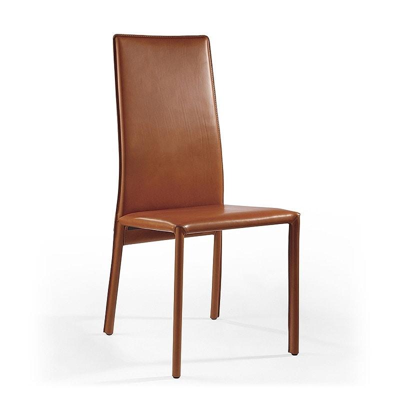 Venere, Chaise de salle à manger moderne, en cuir, pour la salle de réunion