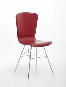 Vichy, Chaise en acier chromé avec siège en cuir rembourré