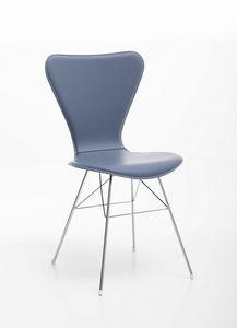 Wendy, Chaise avec base en acier et coque en cuir régénéré