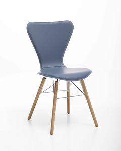 Wendy wood, Chaise en cuir, acier et bois, à usage domestique