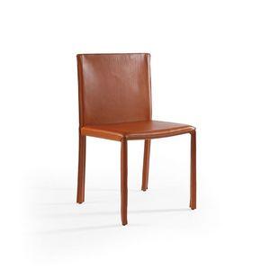 Yuta, Chaise en cuir, idéale pour les salles et les bars restaurants