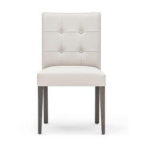 Zenith 01619, Chaise en bois massif, assise et dossier rembourrés, matelassé en arrière, revêtement en cuir, pour les cantines