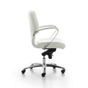 Digital Chrome 02, Chaise rembourrée directionnelle avec support dossier pour le bureau