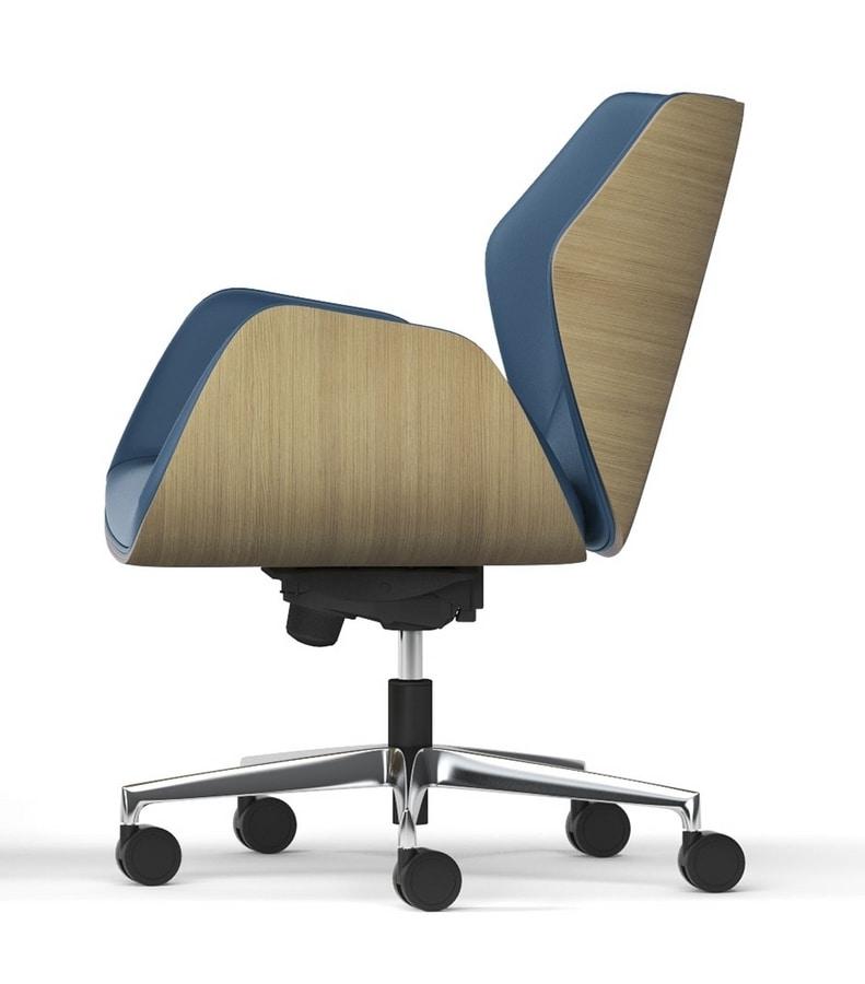 HAIKU WOOD, Chaise à roulettes avec coque en chêne