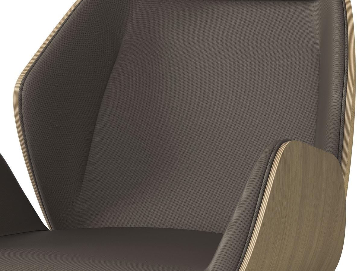 HAIKU WOOD, Fauteuil pivotant, coque finition esthétique en chêne vernis