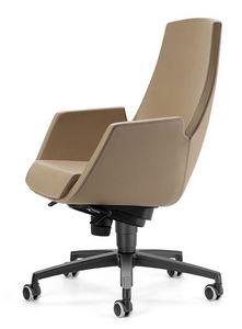 NUBIA 2918, Chaise sur roulettes, inclinable haut, pour le bureau