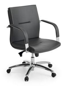 Ottawa 02, Chaise exécutif, piètement en aluminium poli, pour le bureau