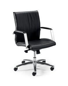 UF 508 / B, Chaise pivotante à roulettes pour bureau, coque en bois