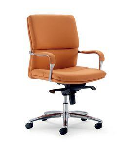 UF 578 / B, Chaise de bureau avec base en aluminium, mécanisme multibloc