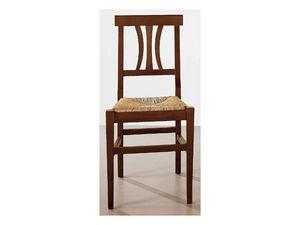 112, Salle à manger chaise en bois massif, assise en paille