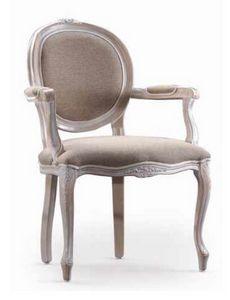 Ginevra-P, Chaise avec accoudoirs, pour l'ameublement classique