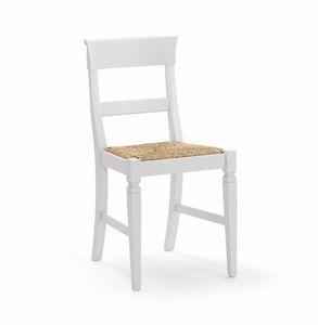 IMPERIALE 700, Chaise blanche avec siège de paille