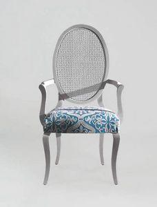 S16PCANNA, Chaise avec accoudoirs, dossier en rotin ovale