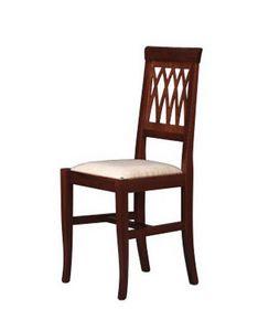 176, Chaise rembourrée avec dossier en hêtre, pour salle à manger