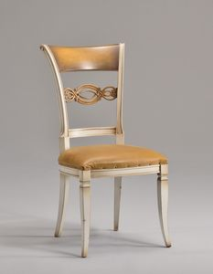 CHIMERA chair 8524S, Chaise de style classique avec dossier en bois sculpté