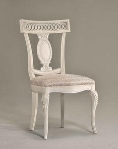 KAREN chair 8283S, Chaise en bois avec assise en cuir, sculpté dossier