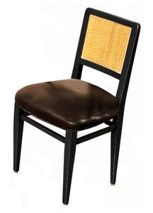 Liliane BR.0201, Chaire en bois de noyer, siège en cuir