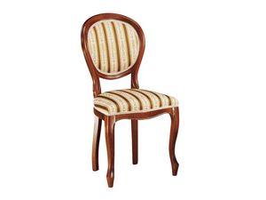 113, Chaise pour salle à manger, en bois avec assise rembourrée