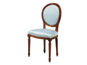 135, Chaise en bois, assise et dossier rembourrés pour les salles à manger