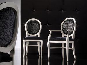 ADELAIDE chaise 8030S, Chaise rembourrée avec dossier rond, personnalisable