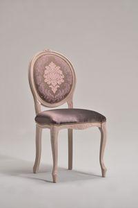BRIANZOLA OVALE chaise 8018S, Chaise en bois, tissu personnalisable, pour vieux café