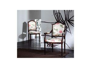 CARMEN chair 8249S, Chaise en bois rembourré, style classique