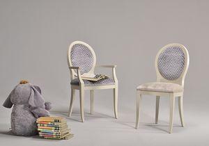 KORA chair 8304S, Chaise de style classique avec assise et dossier tapissés